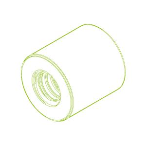 Lange Kunststoffmutter