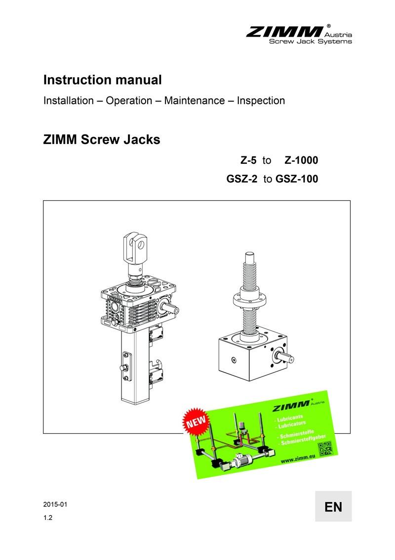 Betriebsanleitung | Hubgetriebe | Englisch