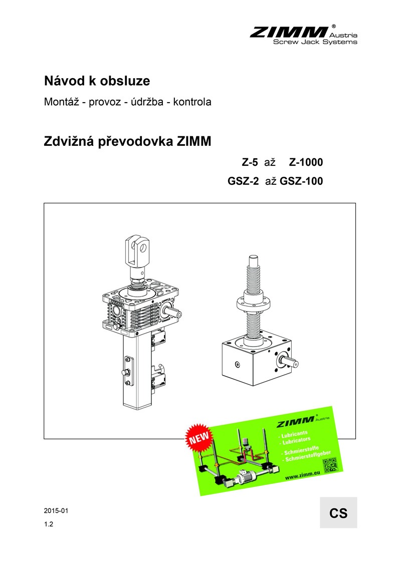 Betriebsanleitung | Hubgetriebe | Tschechisch