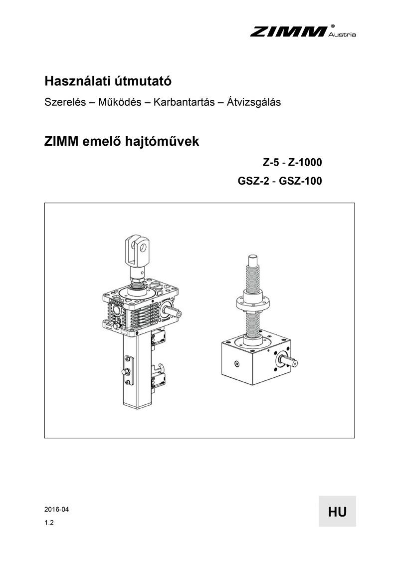Betriebsanleitung | Hubgetriebe | Ungarisch