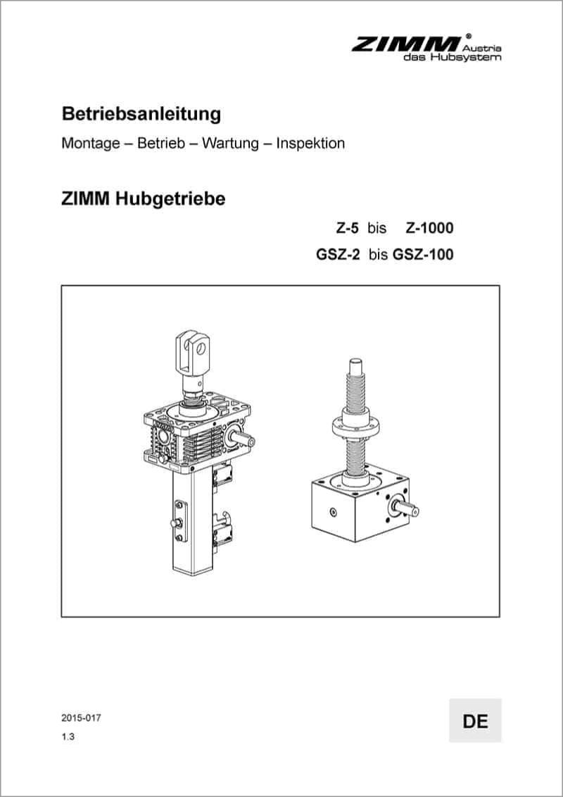 Betriebsanleitung | Hubgetriebe | Deutsch
