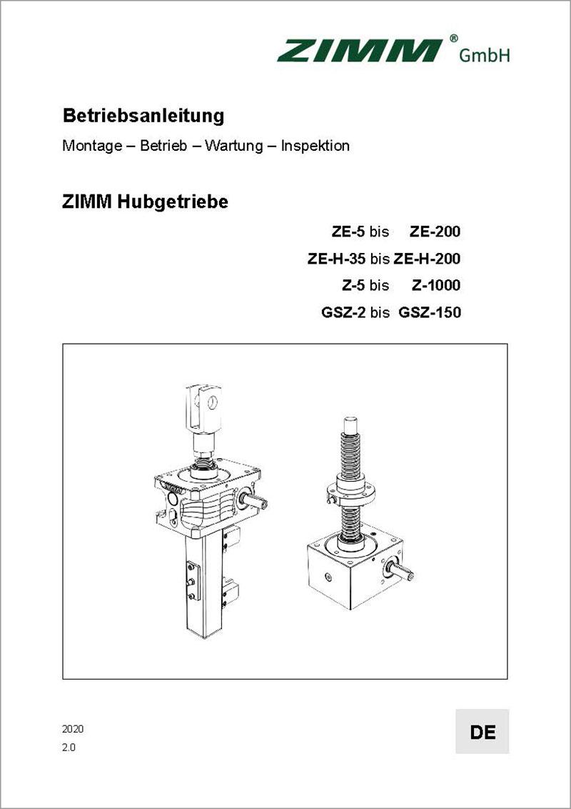 Betriebsanleitung 2.0 | Hubgetriebe | Deutsch