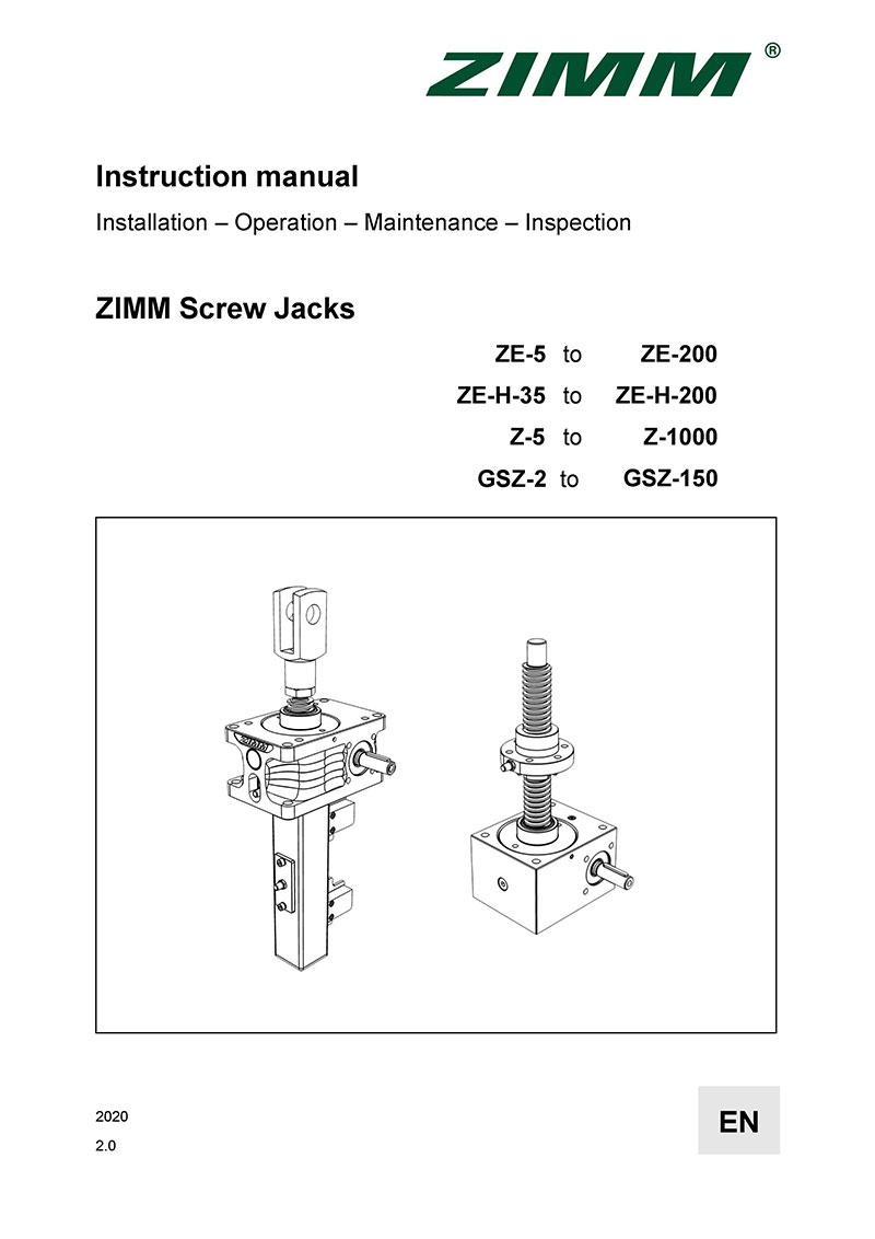 Betriebsanleitung 2.0 | Hubgetriebe | Englisch