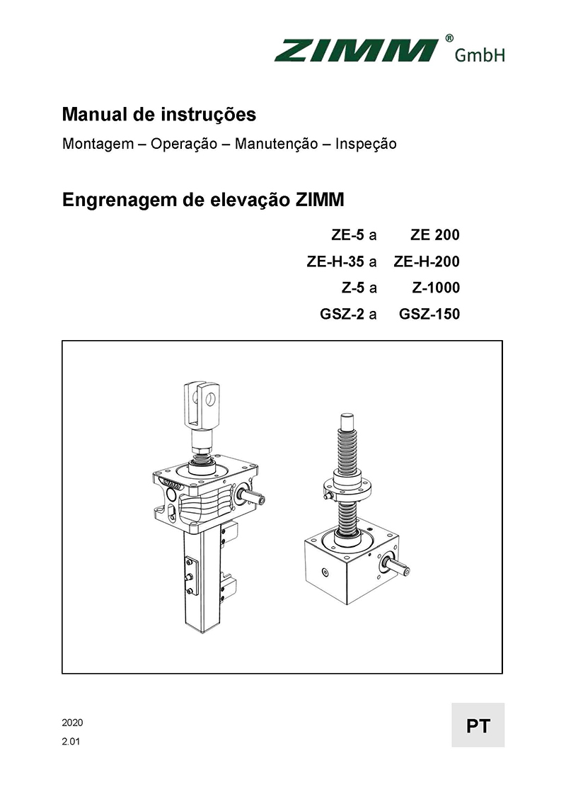 Betriebsanleitung 2.0 | Hubgetriebe | Portugiesisch